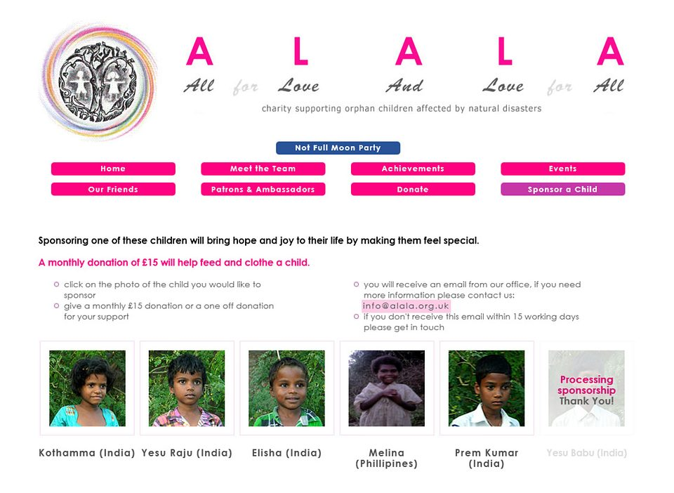 Click to view the ALALA / All for Love and Love for All site